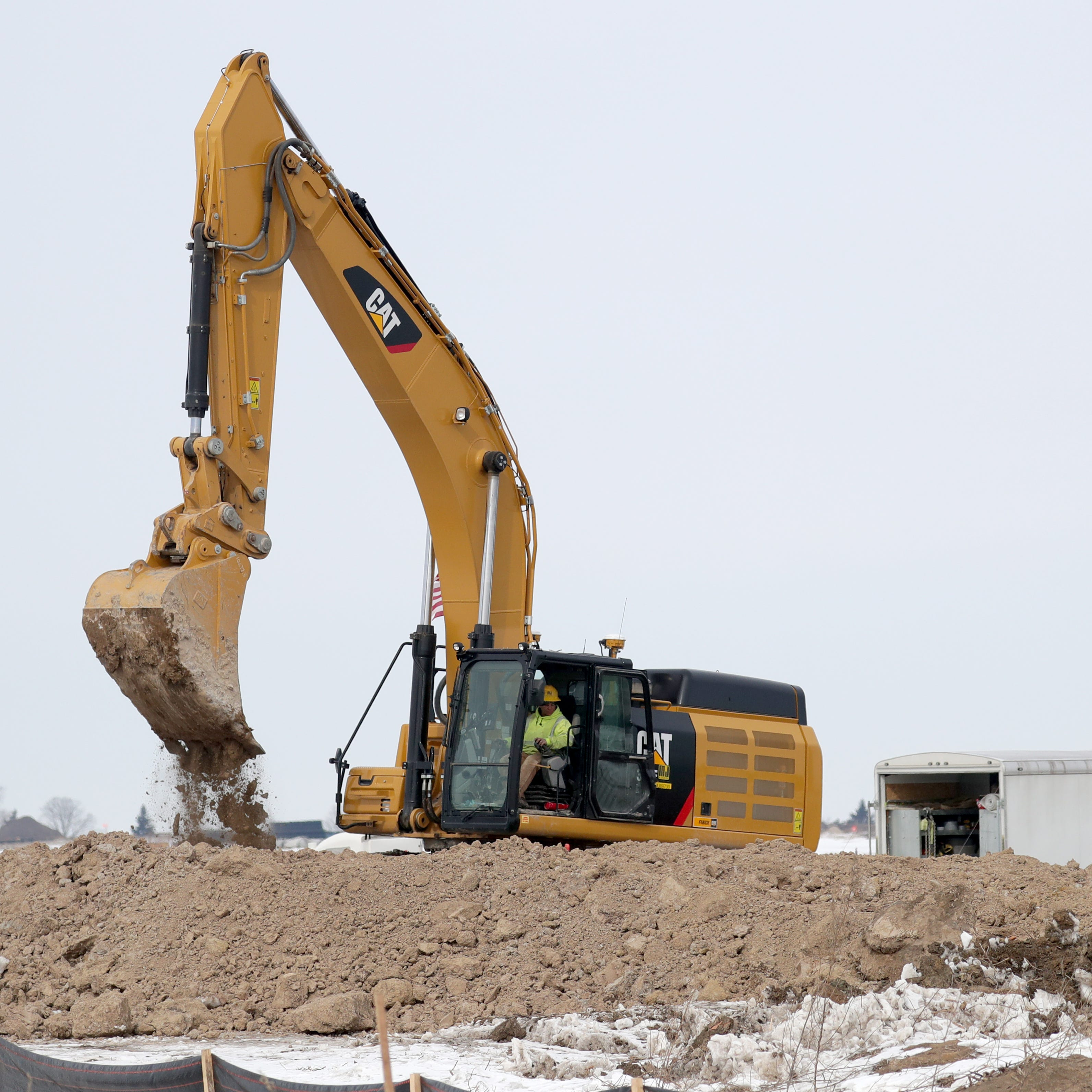 Work continues near the Foxconn Technology Group complex under construction in Mount Pleasant on Thursday.