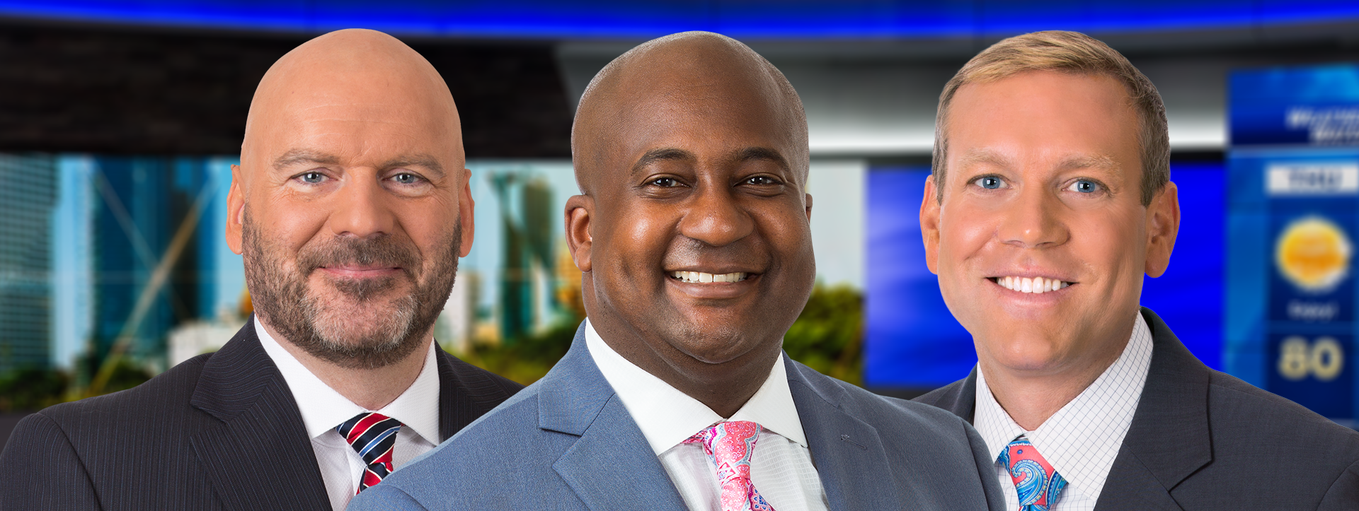 Derrick Rose (center, with Dan Needles and Mark Baden) will be at the anchor desk for WISN-TV's new 9 p.m. newscast, airing on Justice Milwaukee starting April 1.