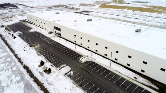 "The first initial structure on the Foxconn construction site, a 120,000-square-foot ""multi-purpose building,"" is seen in Mount Pleasant on Thursday, March 7, 2019."
