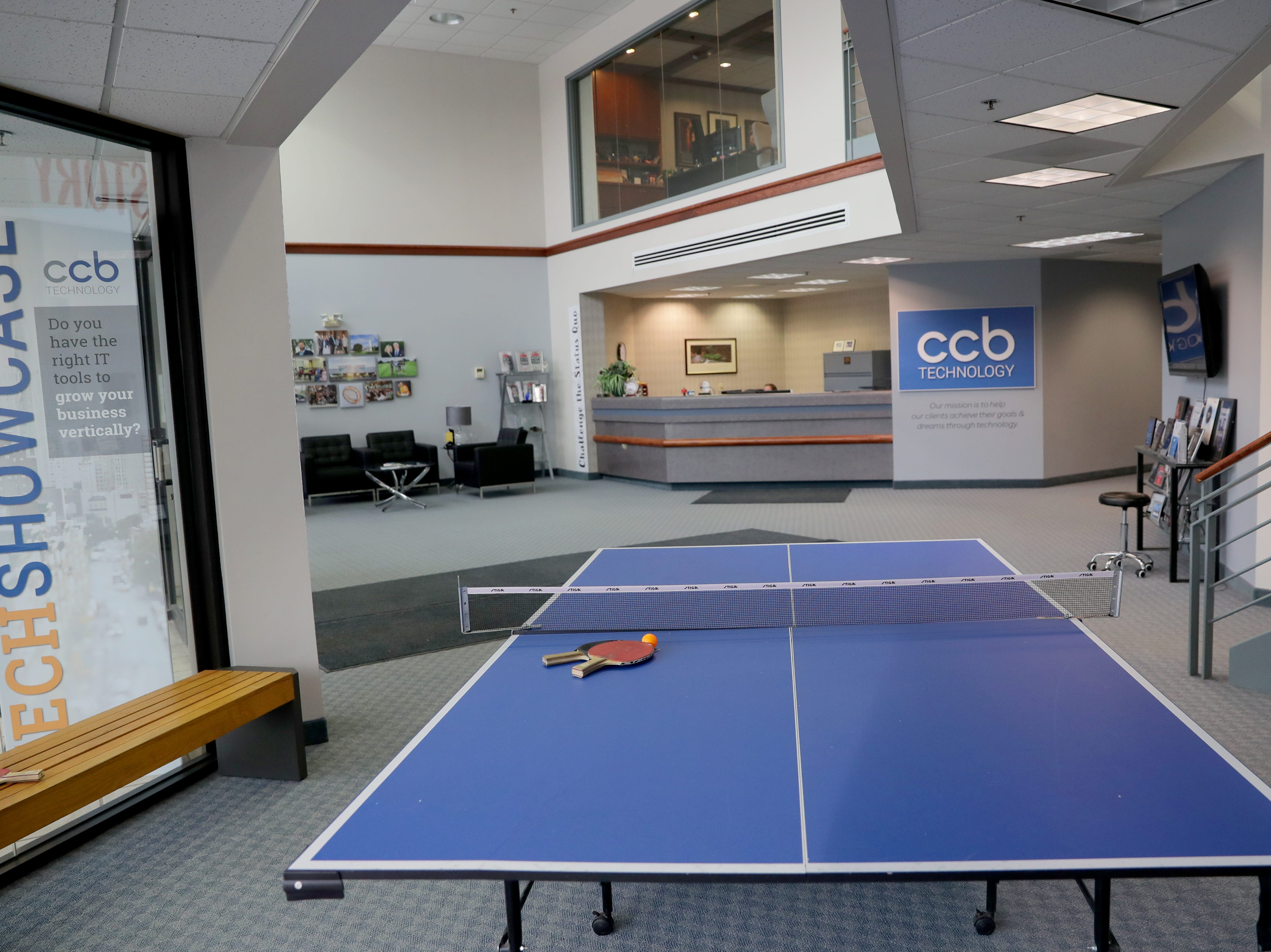 CCB Technology in Racine has a ping pong table in the lobby.