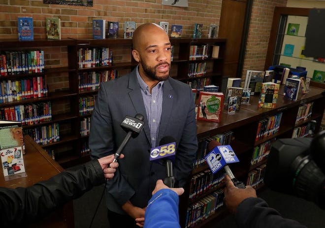 Wisconsin Lt. Gov. Mandela Barnes comments on the need for good oral health care while visiting Cudahy Middle School on Thursday to observe the  Seal-a-Smile program, which provides free oral health care to Wisconsin students. He is touring the state to support  Gov. Tony Evers' budget proposals.