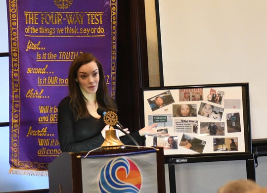 Catherine Townsend, the author of the Hell and Gone podcast, speaks to the Mountain Home Rotary Club on Thursday at Big Creek Golf & Country Club.