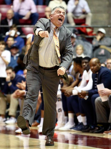 Mar 5, 2019; Tuscaloosa, AL, USA; Auburn Tigers head coach Bruce Pearl reacts to his teams play during the first half against Alabama Crimson Tide at Coleman Coliseum. Mandatory Credit: Marvin Gentry-USA TODAY Sports