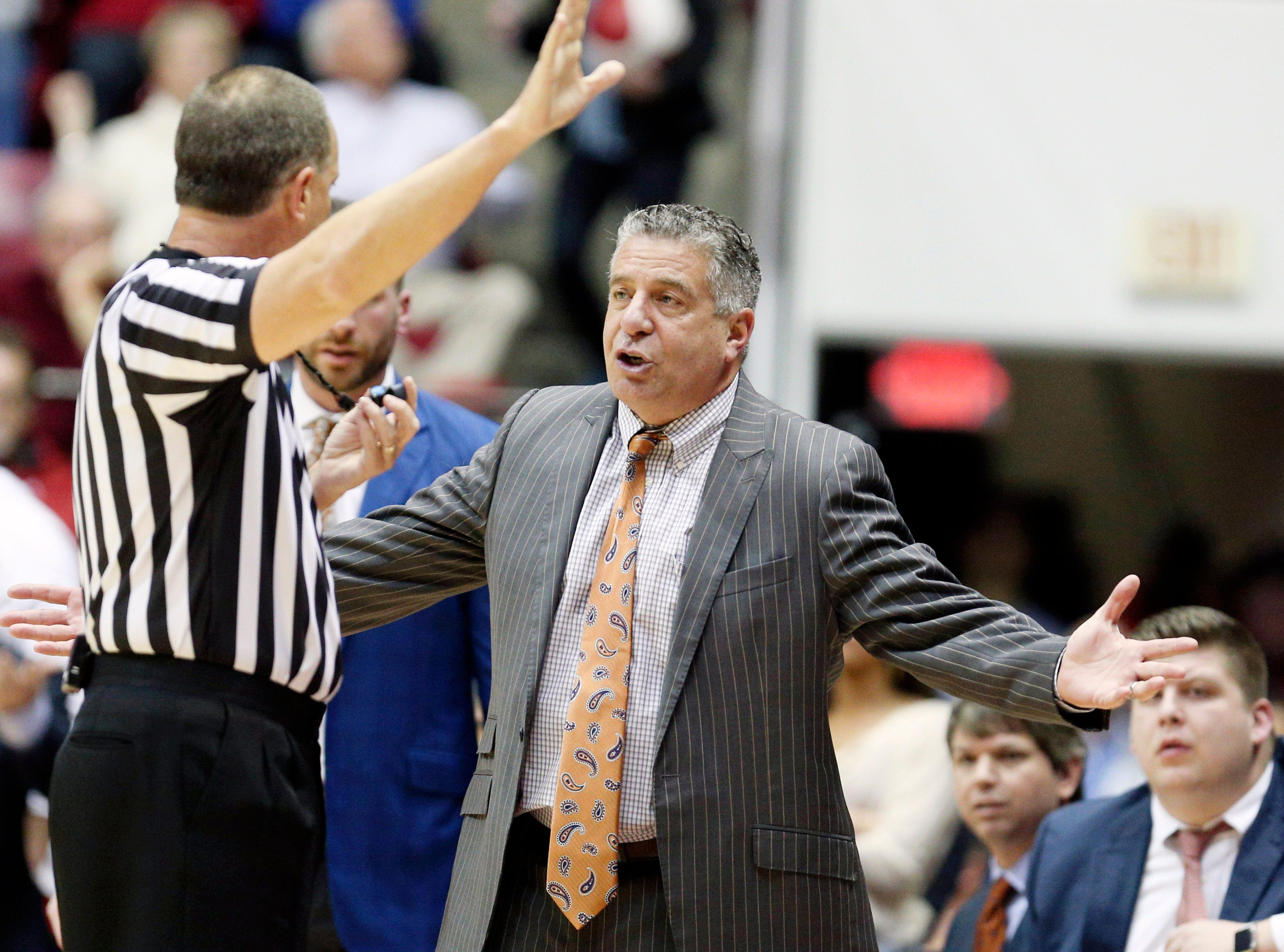Mar 5, 2019; Tuscaloosa, AL, USA; Auburn Tigers head coach Bruce Pearl talks to an official about a call during the first half against Alabama Crimson Tide at Coleman Coliseum. Mandatory Credit: Marvin Gentry-USA TODAY Sports