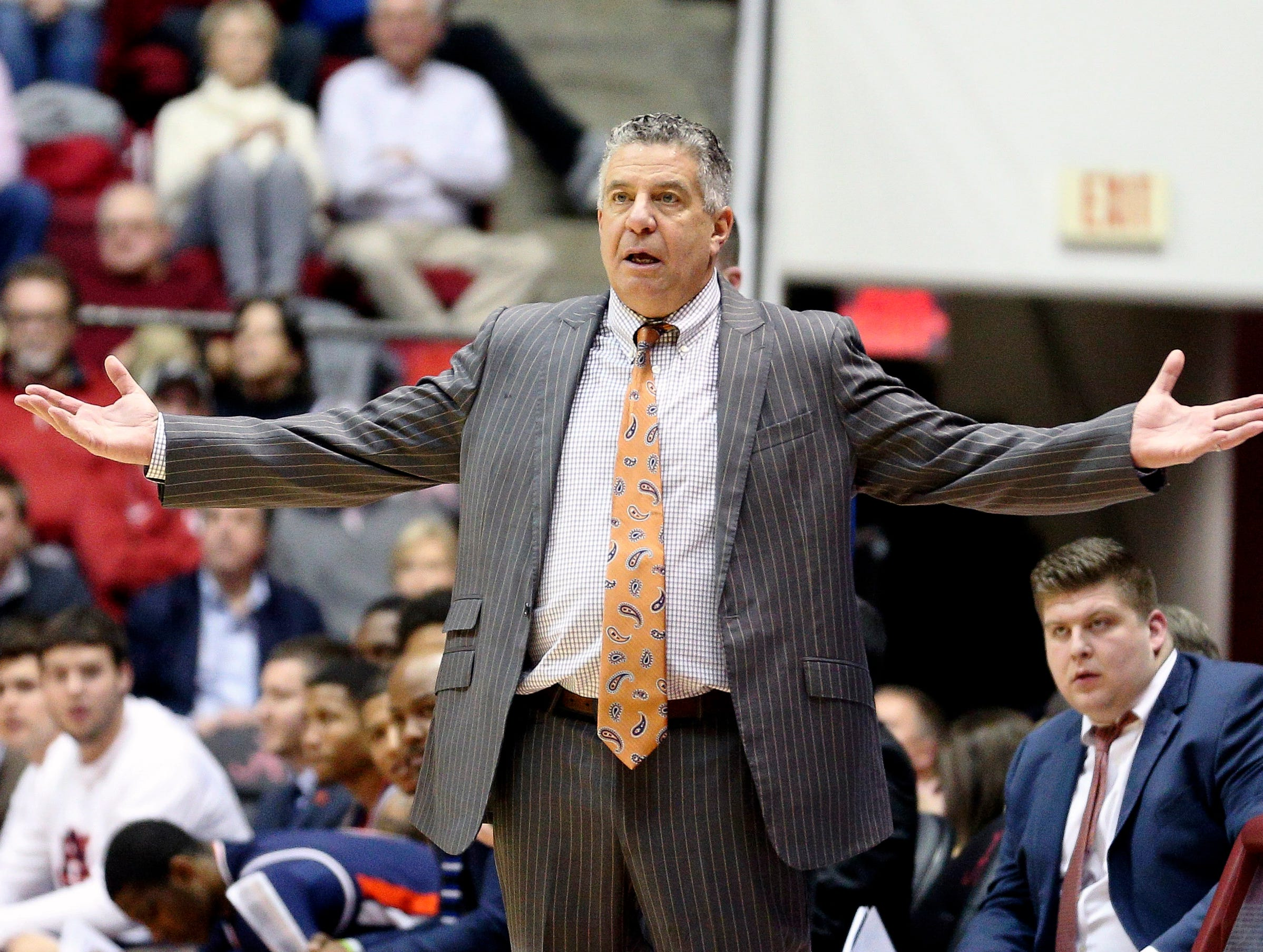Mar 5, 2019; Tuscaloosa, AL, USA; Auburn Tigers head coach Bruce Pearl reacts to a call during the second half against Alabama Crimson Tide at Coleman Coliseum. Mandatory Credit: Marvin Gentry-USA TODAY Sports