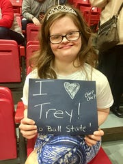 Mickey Deputy cheers on Trey Moses at a recent Ball State basketball game.
