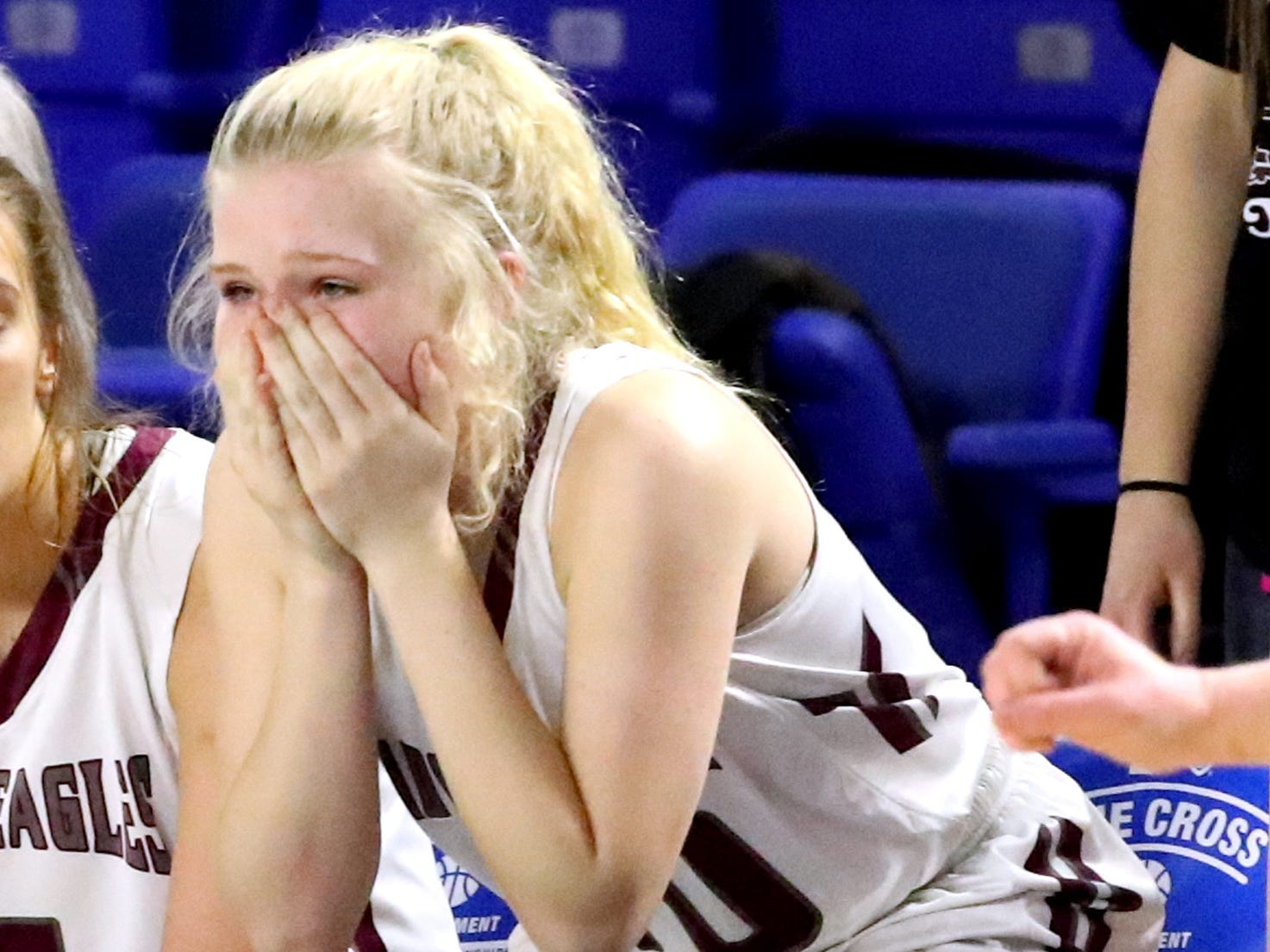 Eagleville's Hannah Hailey (10) reacts to losing by 2 points to Midway during the quarterfinal round of the TSSAA Div. 1 Class A Girls State Tournament, on Thursday, March 7, 2019, at Murphy Center in Murfreesboro, Tenn. Final score was 53-51.