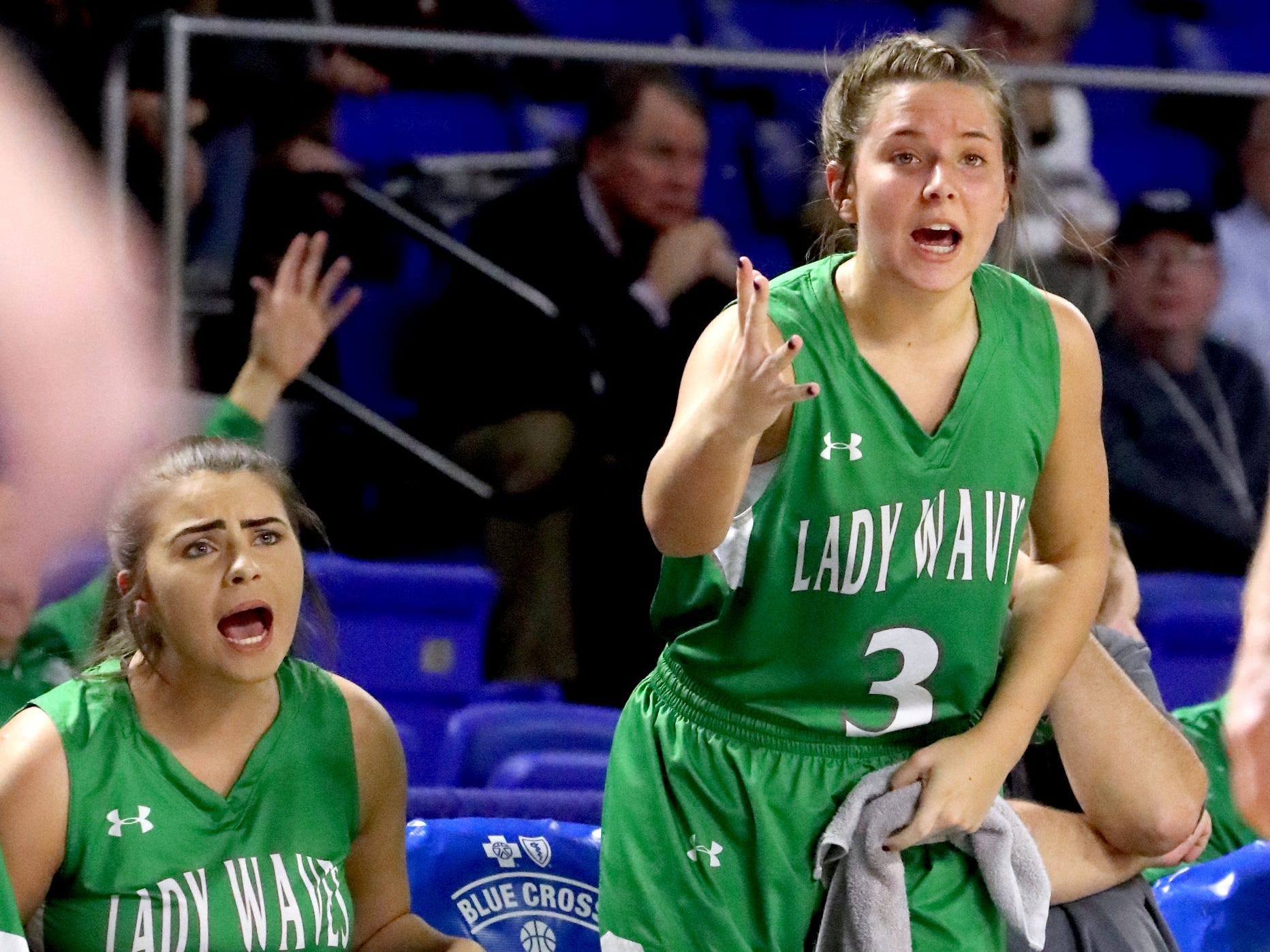 Midway's Megan Norman (11) and Midway's Rebecca Lemasters (3) react to a call during the quarterfinal round of the TSSAA Div. 1 Class A Girls State Tournament against Eagleville, on Thursday, March 7, 2019, at Murphy Center in Murfreesboro, Tenn.