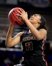 Riverdale's Aislynn Hayes (11) shoots the ball during the quarterfinal round of the TSSAA Div. 1 Class AAA Girls State Tournament against Arlington, on Wednesday, March 6, 2019, at Murphy Center in Murfreesboro, Tenn.