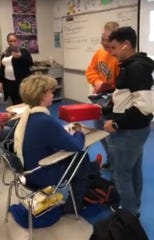 A video that has gone viral shows La Vergne High School freshman Azie Robinson receiving gifts from fellow classmates.