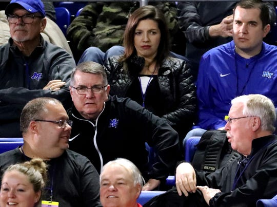 MTSU women's basketball coach Rick Insell watches Riverdale play Arlington during the TSSAA Class AA girls state tournament quarterfinals on March 6, 2019 at Murphy Center.