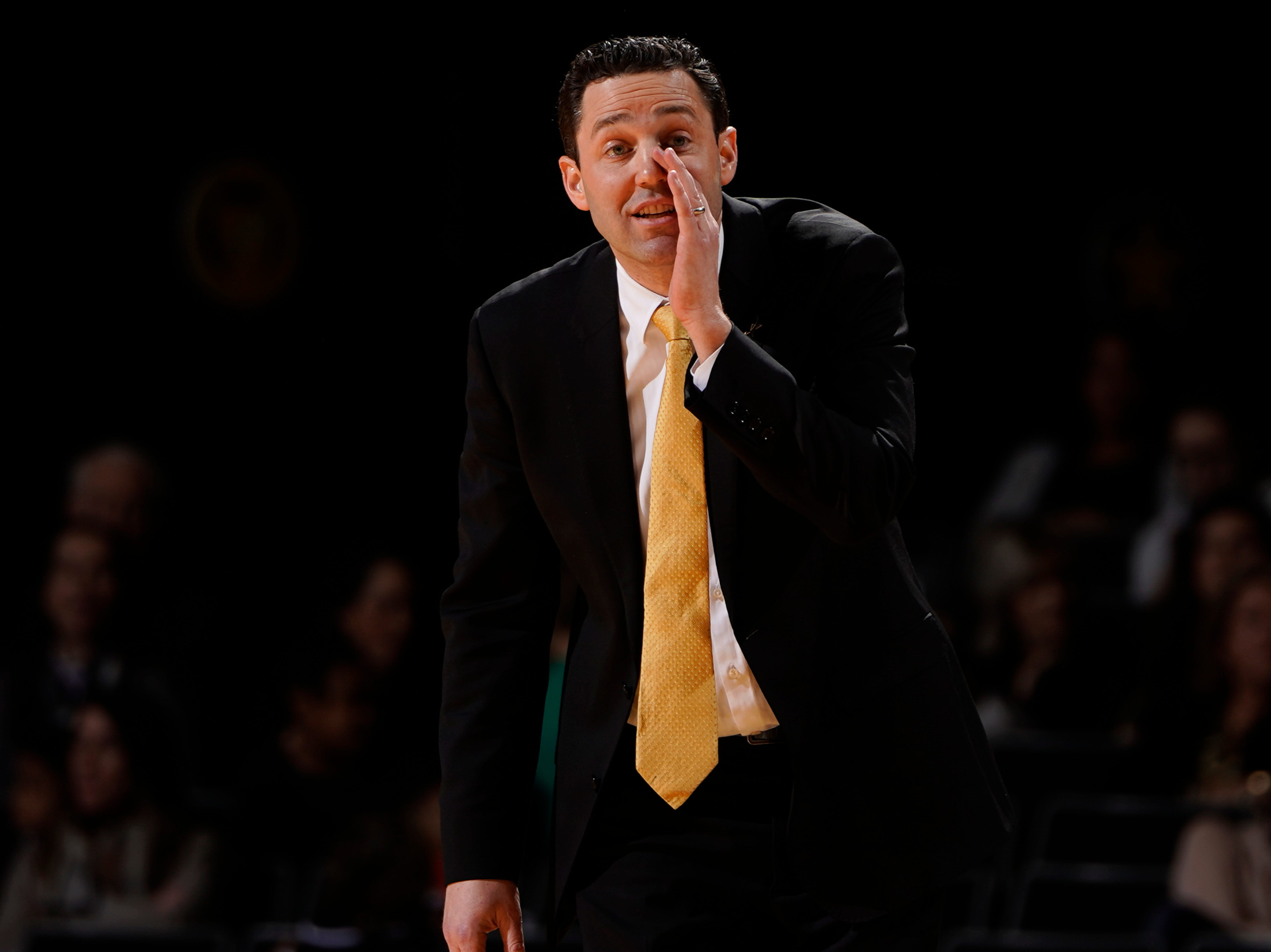 Vanderbilt head coach Bryce Drew yells at his team during the first half of their game against Arkansas at Memorial Gym Wednesday, March 6, 2019 in Nashville, Tenn.