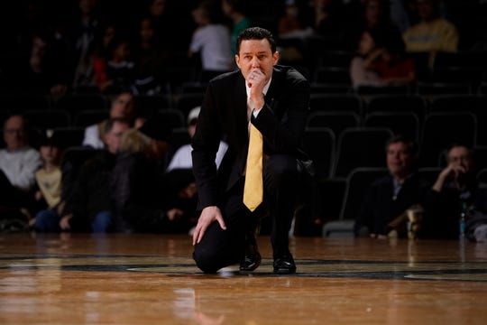 Vanderbilt head coach Bryce Drew watches his team during the first half of their game against Arkansas at Memorial Gym Wednesday, March 6, 2019 in Nashville, Tenn.