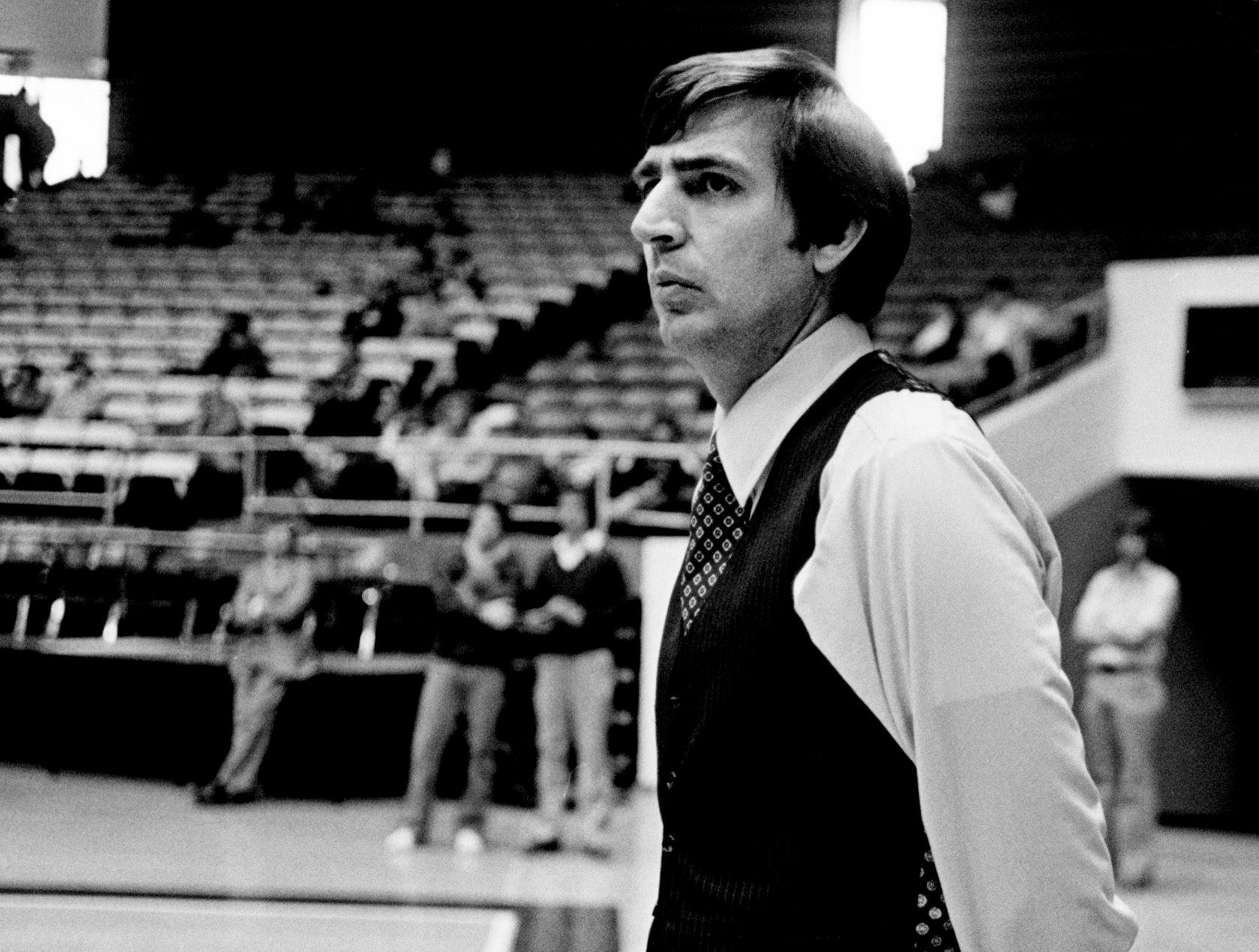 Tennessee head coach Don DeVoe keeps an eye on practice at Murphy Center at MTSU in Murfreesboro on March 8, 1979. The Vols will face Eastern Kentucky in the NCAA Mideast Regional Tournament.