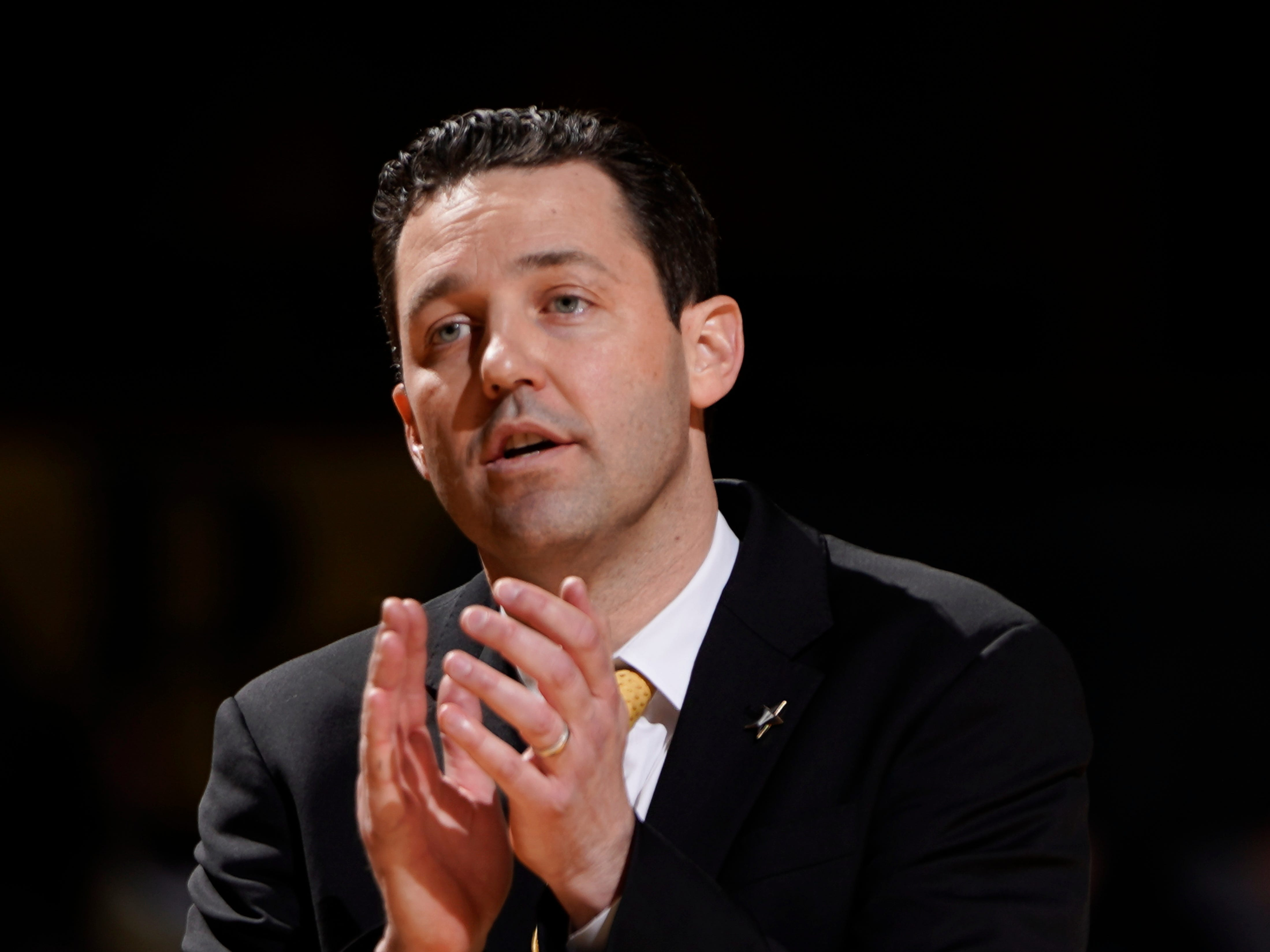 Vanderbilt head coach Bryce Drew tries to motivate his players during the second half of their game against Arkansas as they lose 84 to 48 at Memorial Gym Wednesday, March 6, 2019 in Nashville, Tenn.
