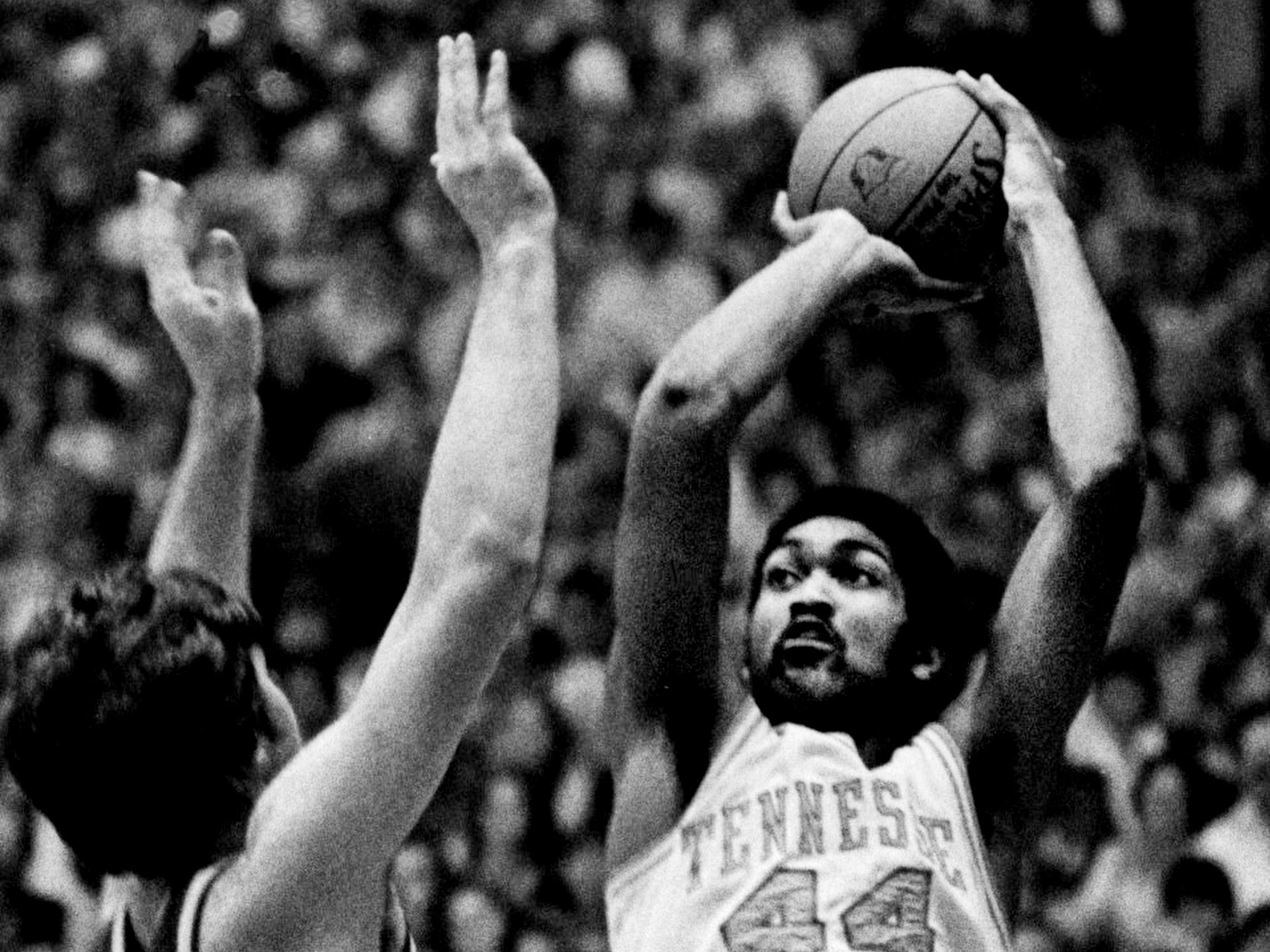 Tennessee sophomore Howard Wood (44) takes a shot against Notre Dame during the NCAA Mideast Regional tournament at MTSU's Murphy Center in Murfreesboro on March 11, 1979. Tennessee was knocked out the tournament with a 73-67 loss to Notre Dame.