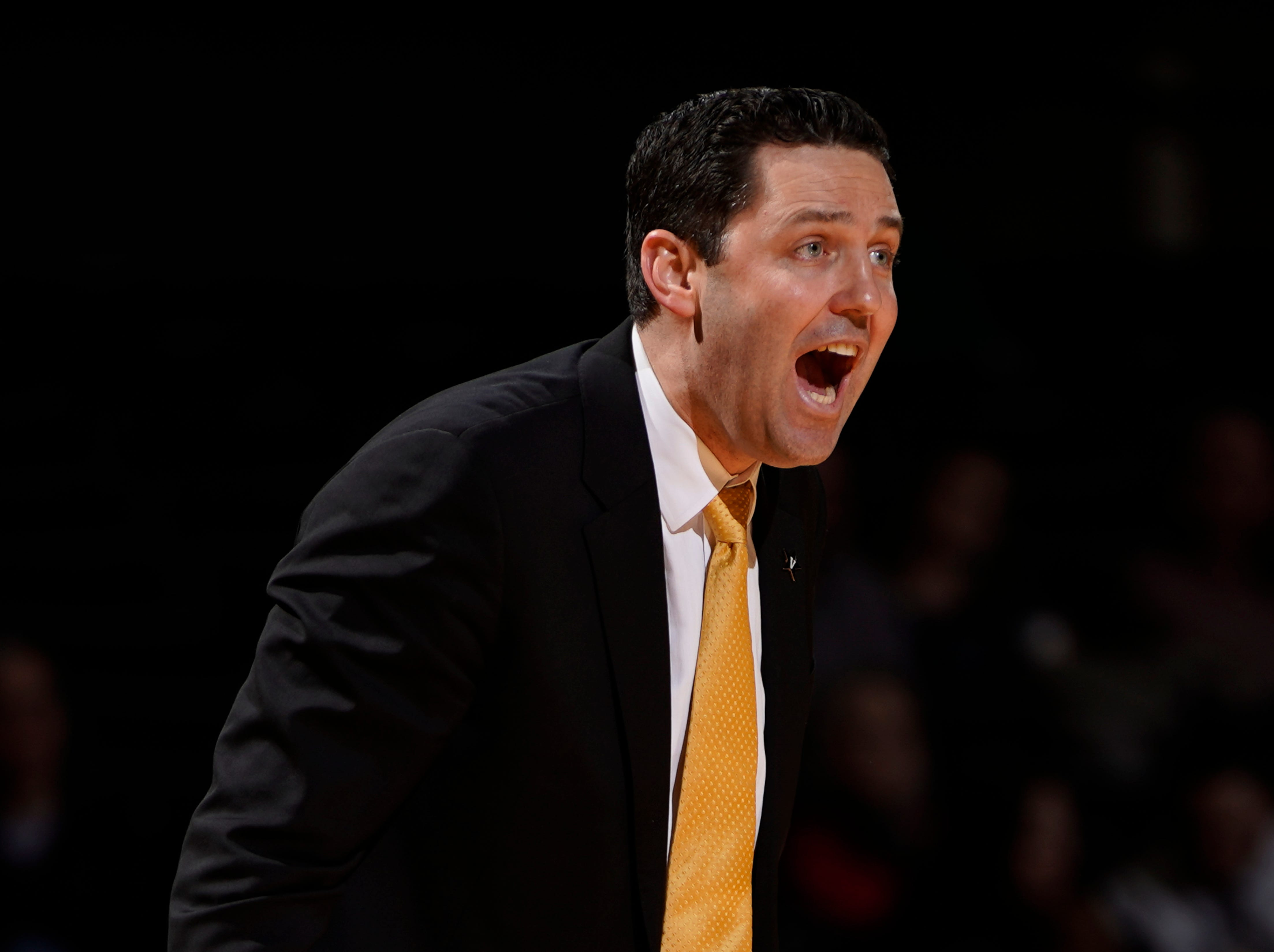Vanderbilt head coach Bryce Drew yells at his team as they lose 48 to 84 against Arkansas at Memorial Gym Wednesday, March 6, 2019 in Nashville, Tenn.