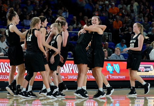 Loretto celebrates their 59 to 40 win over Oneida at the end of their quarterfinal game in the Division I Class A Girls TSSAA Girls State Championships at Murphy Center Thursday, March 7, 2019 in Murfreesboro, Tenn.