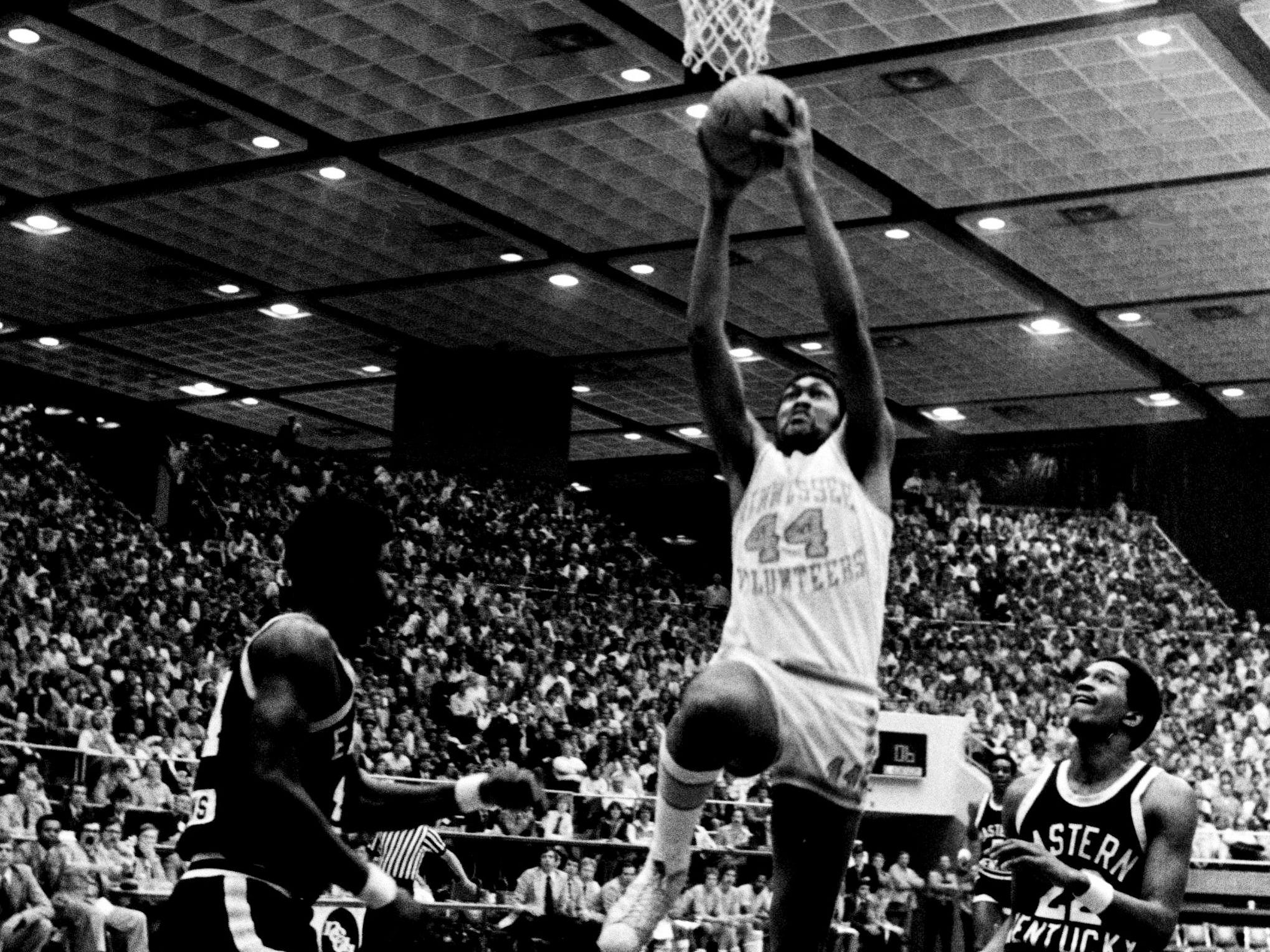 Tennessee sophomore center Howard Wood (44) driving to slam one home as the Vols defeated Eastern Kentucky 97-81 in the NCAA Mideast Regional tournament at MTSU's Murphy Center in Murfreesboro March 9, 1979.