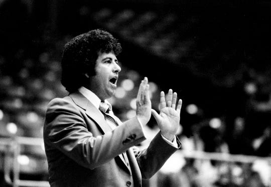Lebanon High head coach Campbell Brandon is leading his team to a 51-48 win over Maryville Heritage High in the quarterfinal game of the TSSAA Class AAA Girls State tournament at MTSU's Murphy Center in Murfreesboro on March 13, 1979.