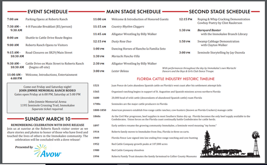 Immokalee Cattle Drive & Jamboree schedule