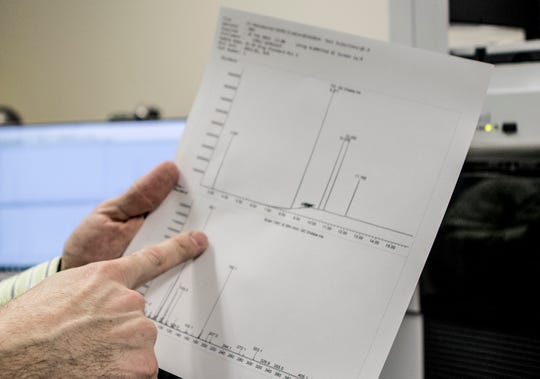 Mark Hiatt points to a printout that has a breakdown on components from a substance. The information received from the GMS machine helps Hiatt determine what each substance is he may need to test to determine if narcotics are present.