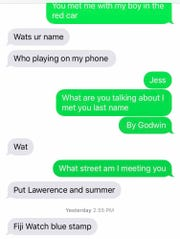 Text messages from a drug dealer found on Jessica's phone telling her where to meet to buy drugs in at Lawrence and Summer streets in Paterson.