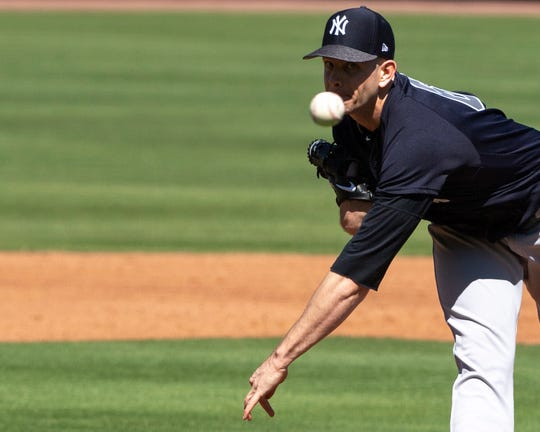 New York Yankees pitcher James Paxton (65) throws a pitch during the third inning against the Philadelphia Phillies at Spectrum Field.