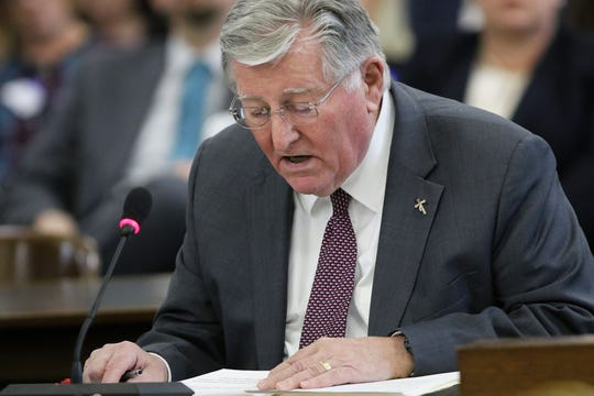 Patrick R. Brannigan, executive director of the New Jersey Catholic Conference, testified about a bill to expand the statute of limitations for sexual abuse. Thursday, March 7, 2019