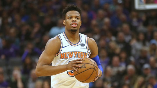 New York Knicks guard Dennis Smith Jr. during the first quarter of an NBA basketball game against the Sacramento Kings Monday, March 4, 2019, in Sacramento, Calif.