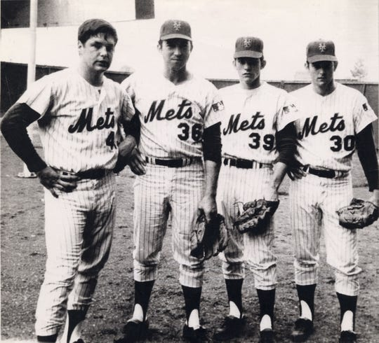 NEW YORK: The amazing '69 Mets, who won the franchise's only World Series, were blessed with great pitching. World Series performers included (L-R): Tom Seaver, who won one game, Jerry Koosman, two games, Gary Gentry, one game, and Nolan Ryan, relief pitcher.