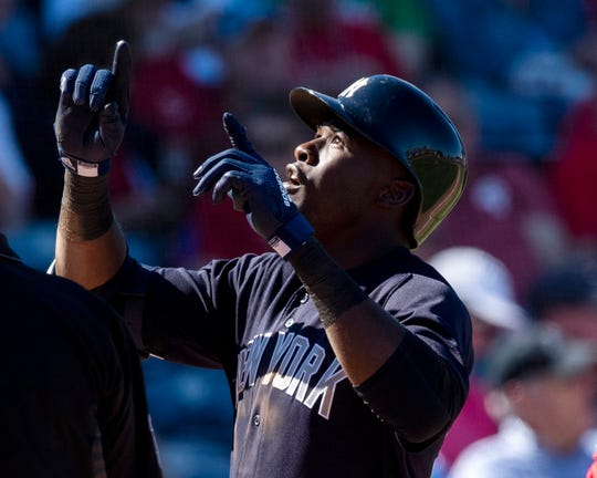 New York Yankees outfielder Estevan Florial (92) reacts after hitting a three run home run during the sixth inning against the Philadelphia Phillies at Spectrum Field.