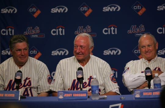 Tom Seaver, Jerry Koosman and Nolan Ryan were among the members of the 1969 New York Mets who recalled their amazing season during a press conference before Saturday night's game at Citi Field.   Saturday, August 22, 2009.
