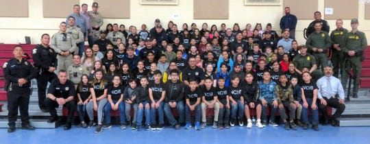 """Bataan Elementary School fifth-grade students and teachers hosted a First Responder's Day on Monday, March 4. The fifth-grade team invited local first responders from the Deming Fire Department, Deming Police Department, Luna County Sheriff's Office, New Mexico State Police, and U.S. Border Patrol. The First Responders were treated to a catered meal from Si Senor Restaurant.The fifth graders gave a stand ovation when their guests entered the gymnasium. """"We just wanted to show our appreciation for everything these men and women do every day and focus on building a positive relationship between our students and the first responders in the community,"""" said Kim Perea, fifth-grade teacher. There were about 50 first responders who came to spend time with the students. First responders from the Fire Department took each of the fifth-grade classes out to the fire engines and ambulances for a brief talk and tour of the vehicles. Teachers Gina Simms, Melissa Noriega, Doris Lancaster, and Perea and their 96 studentsenjoyed hosting their first-everFirst Responder's Day at Bataan Elementary."""