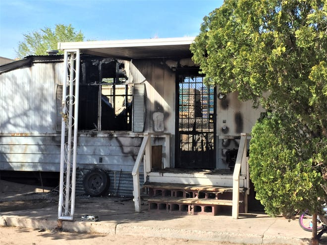 A fire engulfed a mobile home on 1700 W. Hadley Ave. Tuesday, March 5, and destroyed everything a family owned inside it.