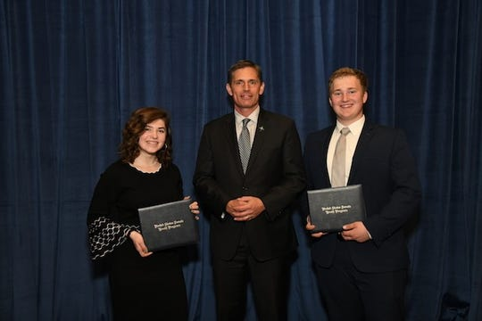 U.S. Senator Martin Heinrich (D-N.M.) meets with and congratulates New Mexico's two student delegates for the United States Senate Youth Program (USSYP), Katherine Broten of Farmington and David Fillmore, Jr. of Alamogordo.