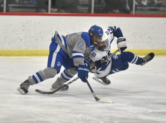 Detroit Catholic Central player Rylan Clemons and Salem Rock Anthony Gattoni collide near center ice.
