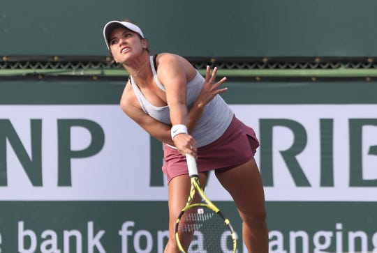 Desirae Krawczyk, left, plays doubles during the BNP Paribas Open, March 6, 2019.
