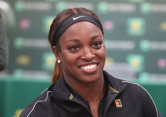 Sloane Stephens talks with the media during an interview at the BNP Paribas Open, March 6, 2019.
