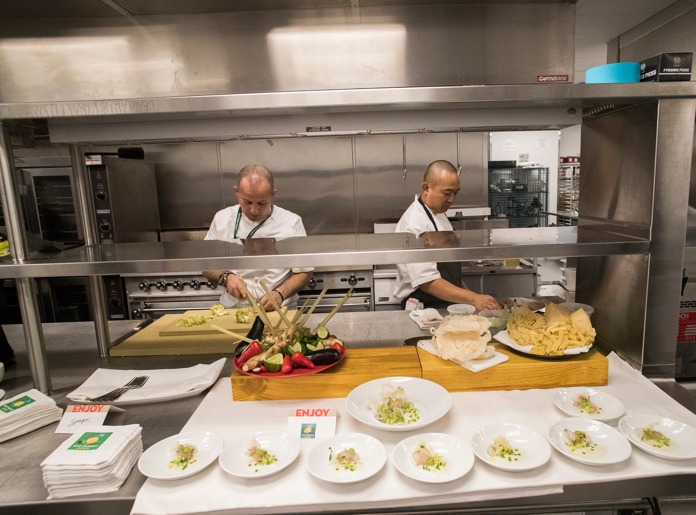 Spago restaurant offers food at the 2019 BNP Paribas Open at the Indian Wells Tennis Garden.
