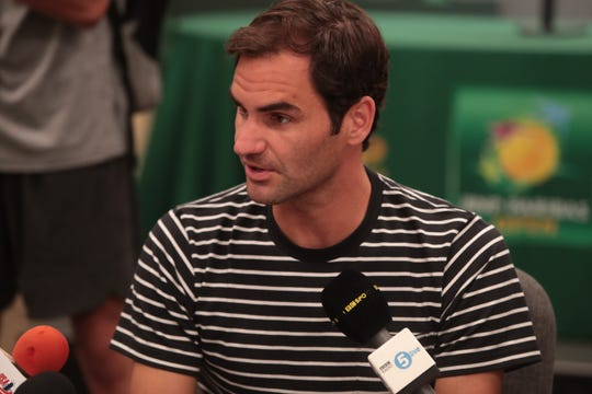 Roger Federer talks to reporters at the BNP Paribas Open, Indian Wells, Calif., Wednesday, March 6, 2019.