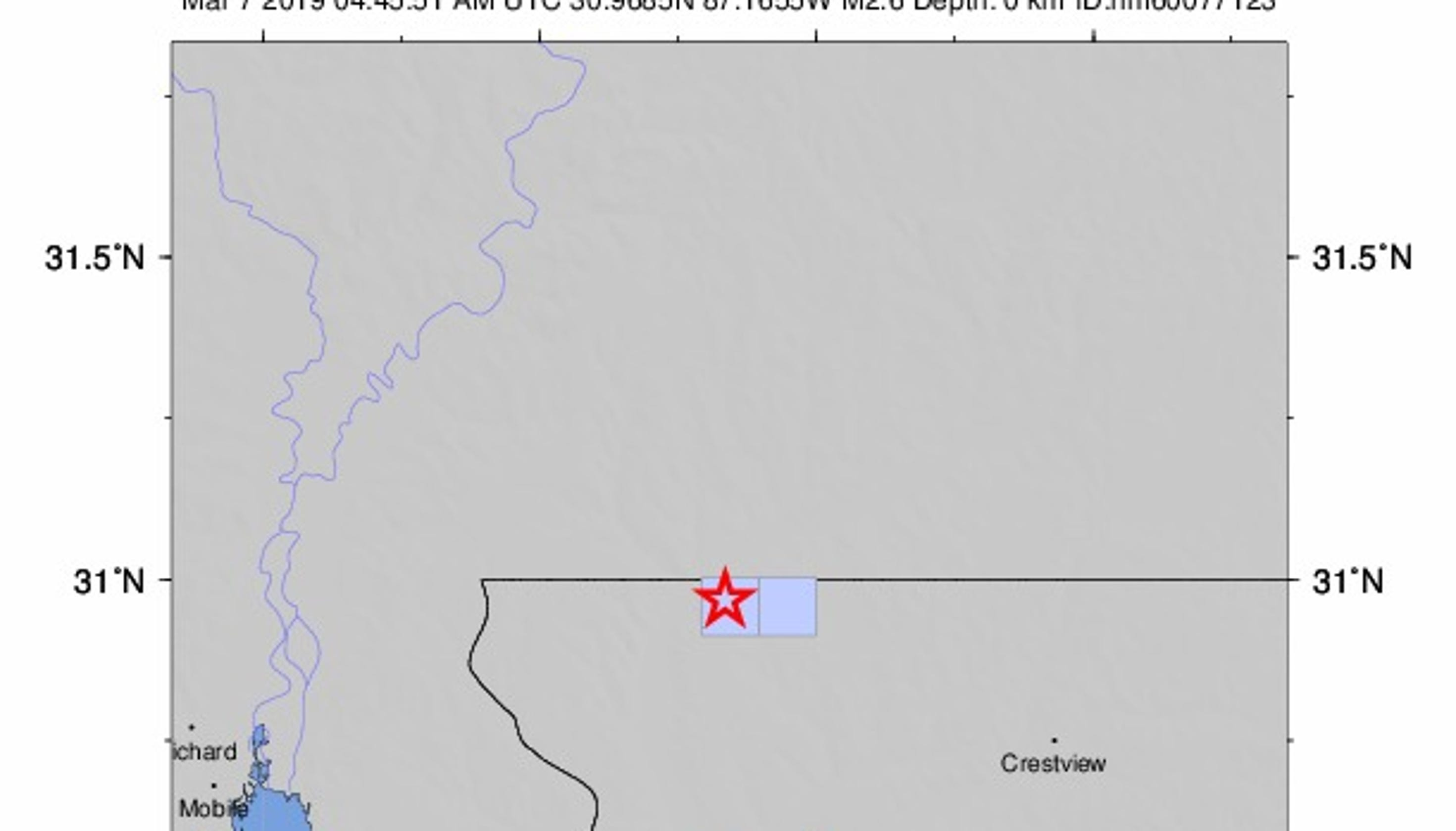 Small Earthquake Confirmed Near Jay Florida U S Geological Survey