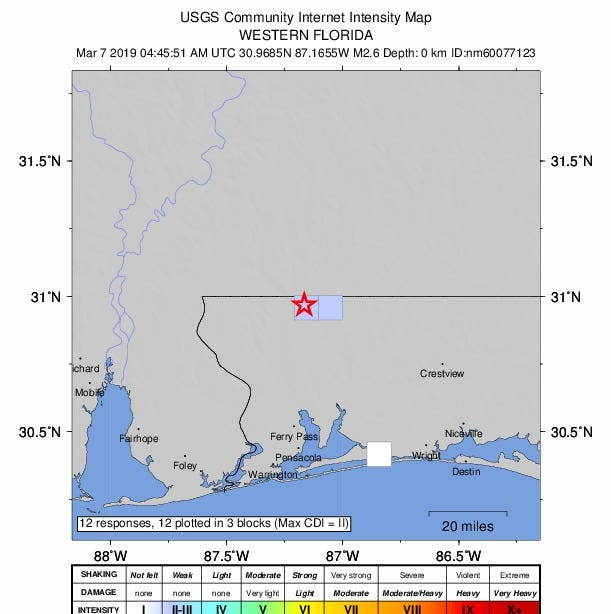 3rd earthquake reported near Florida-Alabama line. Space Coast 'rumble' still a mystery