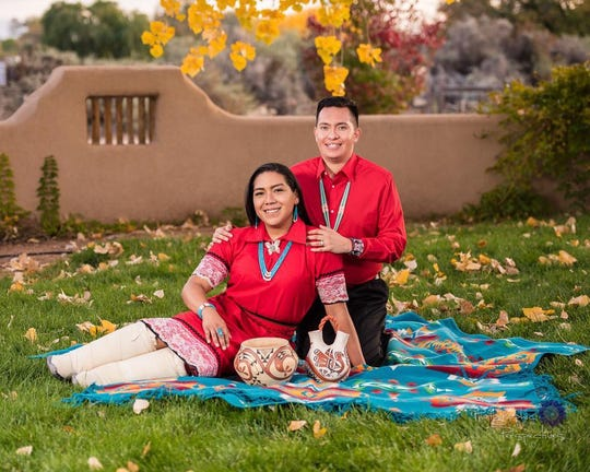 Jordan and Vincent Waquiu. Jordan is one of the head dancers for the first Arizona two spirit, LGBTQ powwow being held at South Mountain Community College.