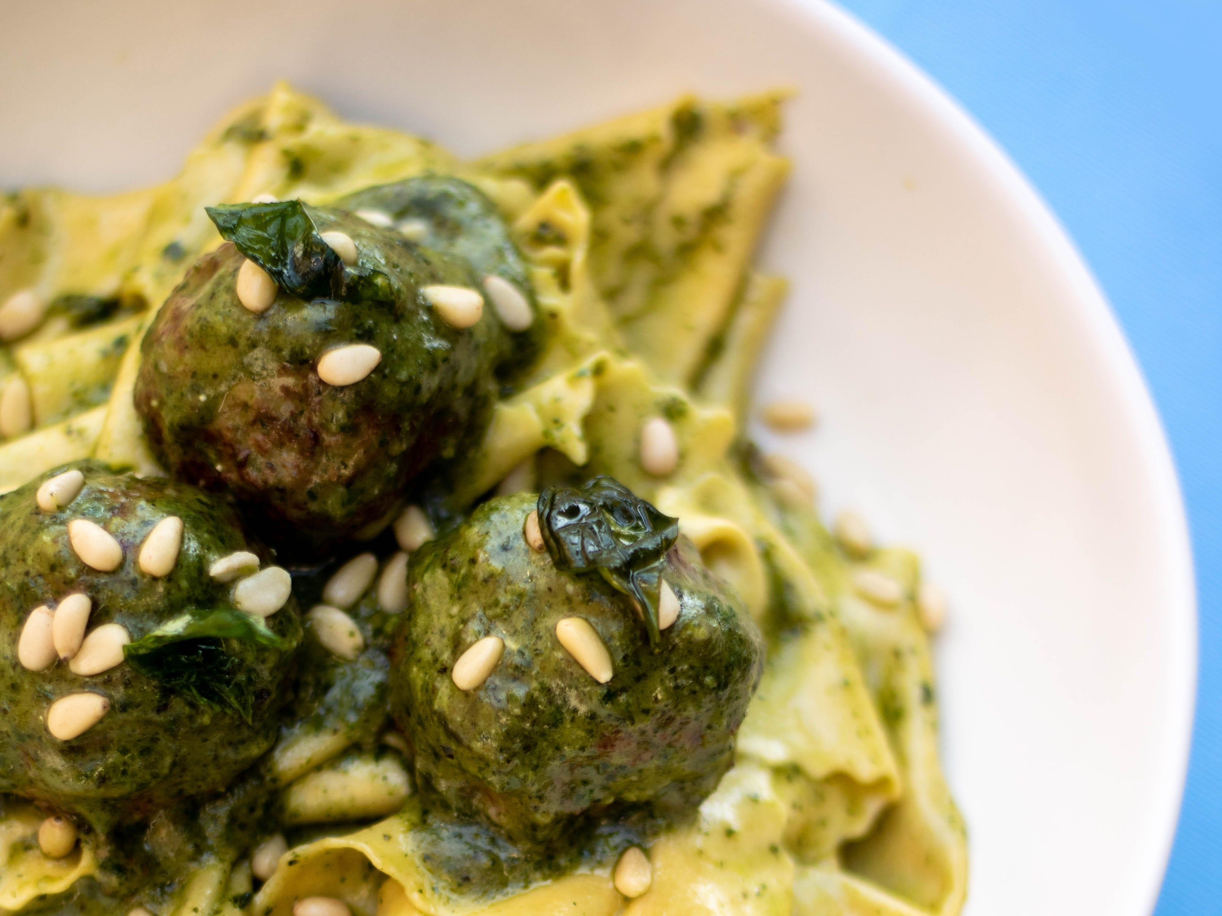 Mandili pasta with Pesto