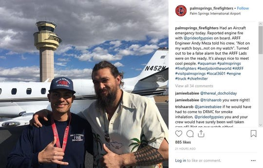 Palm Springs Fire Department are called out to assist in the emergency landing of Jason Momoa's private plane