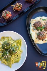 Spicy Sausage meatballs with Barbeque Sauce, Madili With Pesto and Veal meatballs with Polenta