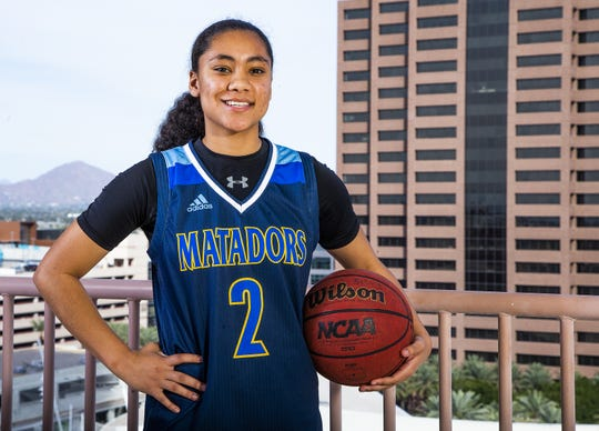 Senya Rabouin of Shadow Mountain poses for the azcentral sports All-Arizona girls basketball team  at the Republic Media Building in Phoenix, Monday, March 4, 2019.