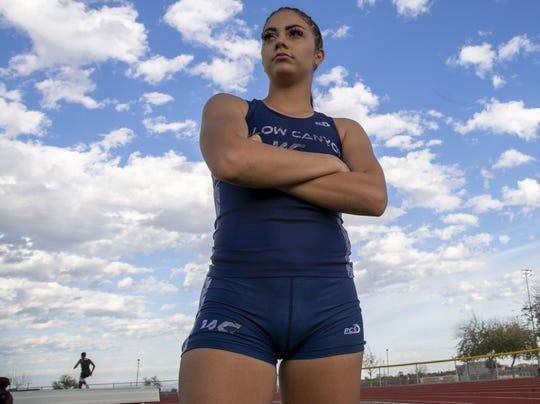 Willow Canyon Senior sprinter Allison Veloz at Shadow Ridge High School track in Surprise, Az.