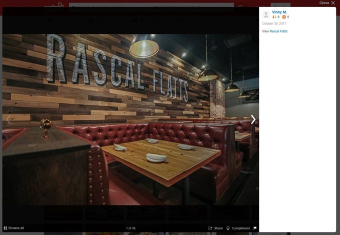 Screenshots taken from the Yelp website show RF Restaurant'sfirst and last Rascal Flatts restaurant. The Stamford, Connecticut, location stayed open about a yearbefore closing in August 2018 amidallegations that RF Restaurants failed to pay more than $1.1 million in rent.